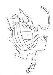 無料イラスト素材塗り絵ボール猫a36