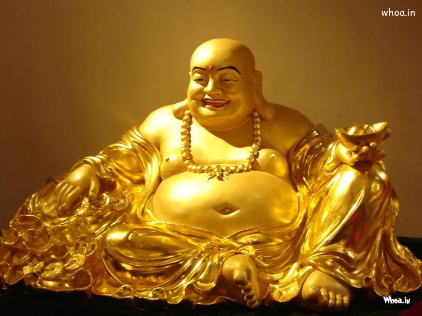 Laughing Buddha Golden Statue Hd Wallpaper