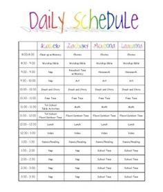 Family Daily Routine Schedule Template | Super Nanny | Pinterest ...