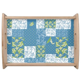 Serving Tray: Lily of the Valley, Blue Patchwork