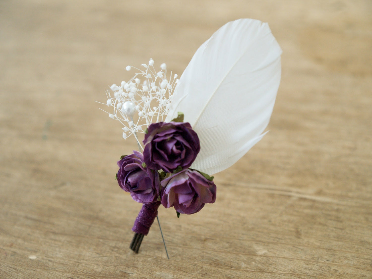 Purple Boutonniere, Natural Lapel Pin, Romantic Country Vintage Groomsman Egplant and White Lavender, Feather - FairyfolkWeddings