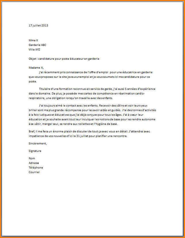 Exemple De Lettre De Motivation Pour Creche