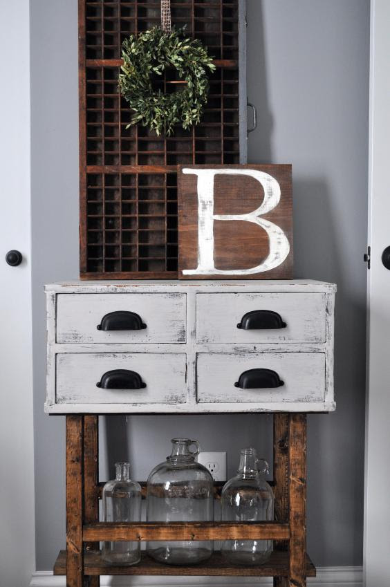 Farmhouse style card catalog side table from Little Glass Jar featured at the Moonlight & Mason Jar Link Party