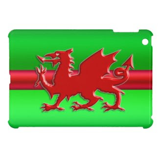 Stylized Red Welsh Dragon on green metallic effect