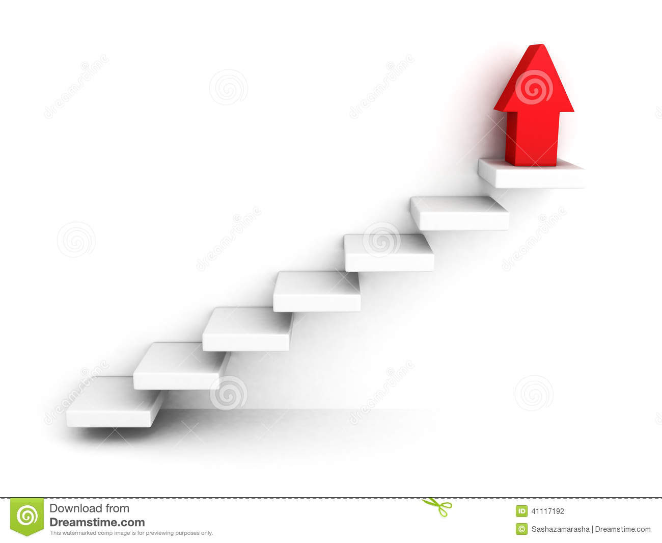 red growing up success arrow upstairs steps ladder d render illustration 41117192