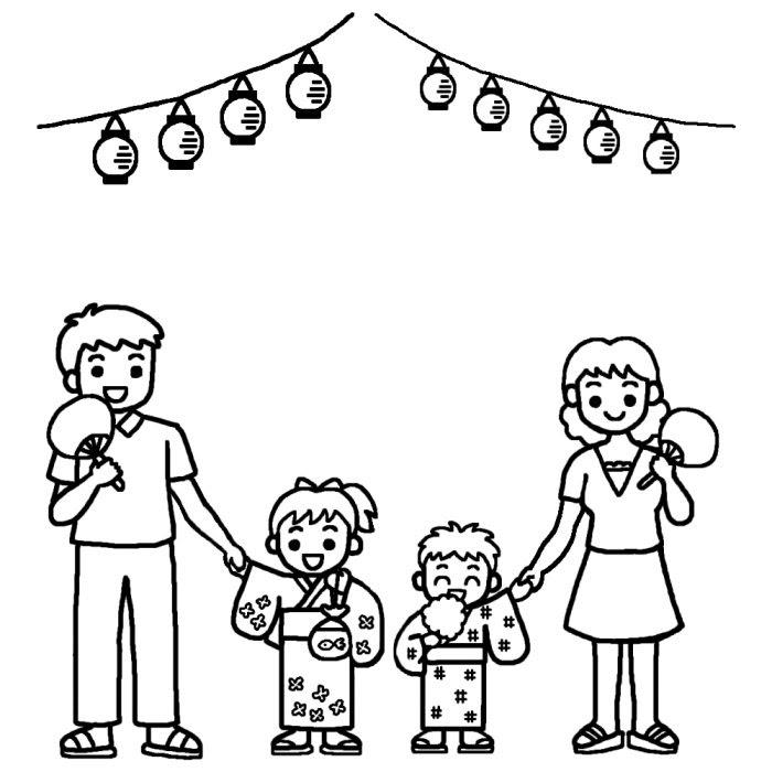 家族で夏祭り白黒花火夏祭り夏枠ふきだし無料イラスト素材