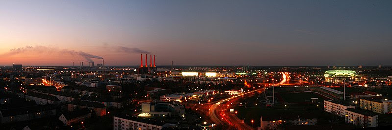 Wolfsburg panorama at dusk, viewed from Schillercenter