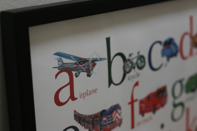 Vehicles ABC alphabet poster, 18 x 24
