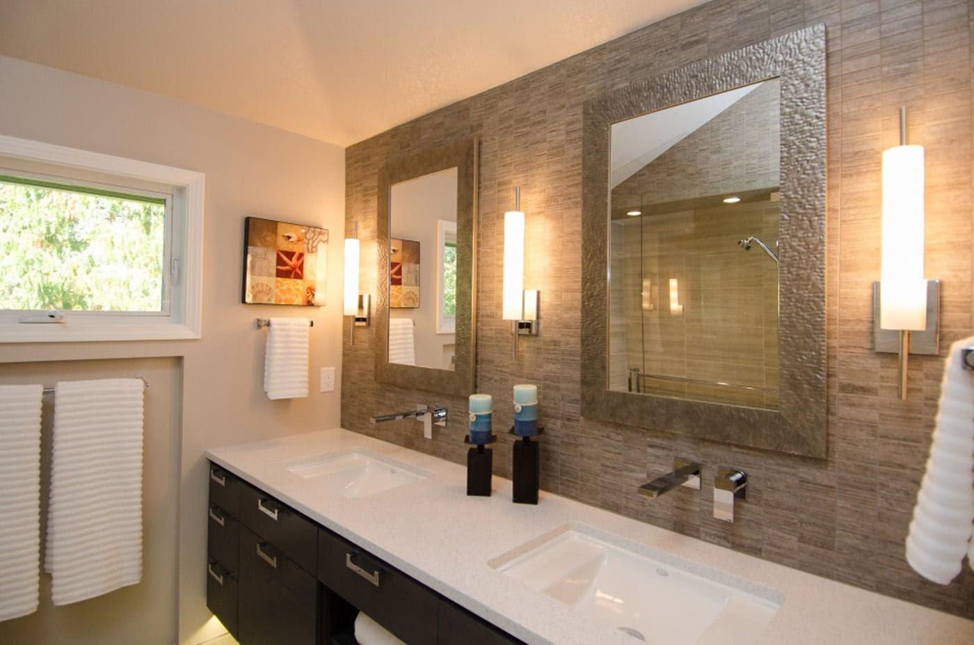 Contemporary Master Bathroom Floating Vanity