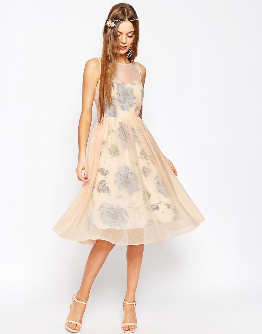 Image 1 of ASOS WEDDING Printed and Sheer Layer Prom Dress