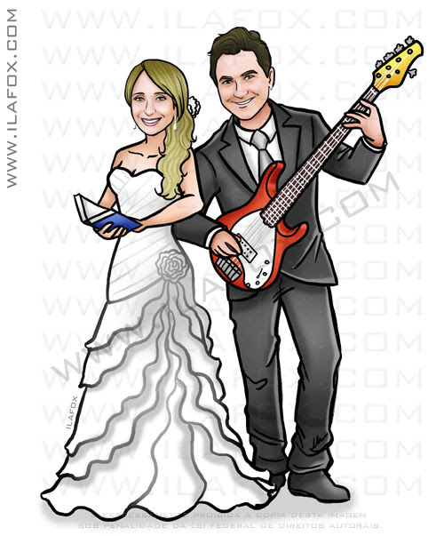 Caricatura proporcional, caricatura noivo musico, guitarrista, segurando guitarra, noiva professora, segurando livro, by ila fox