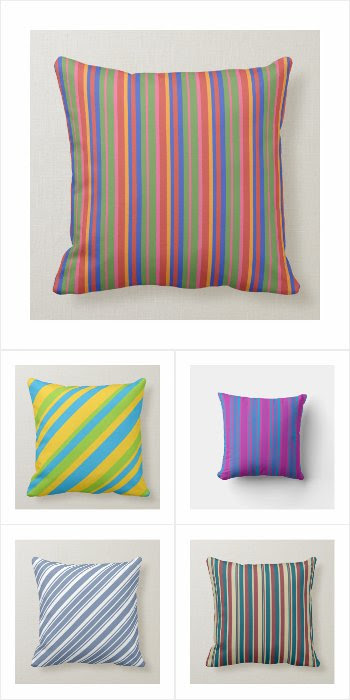Pillows with Colorful Stripes