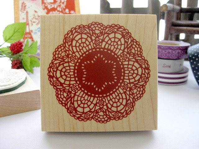 Japanese Big Doily Lace Pattern Wooden Rubber Stamp (Red)