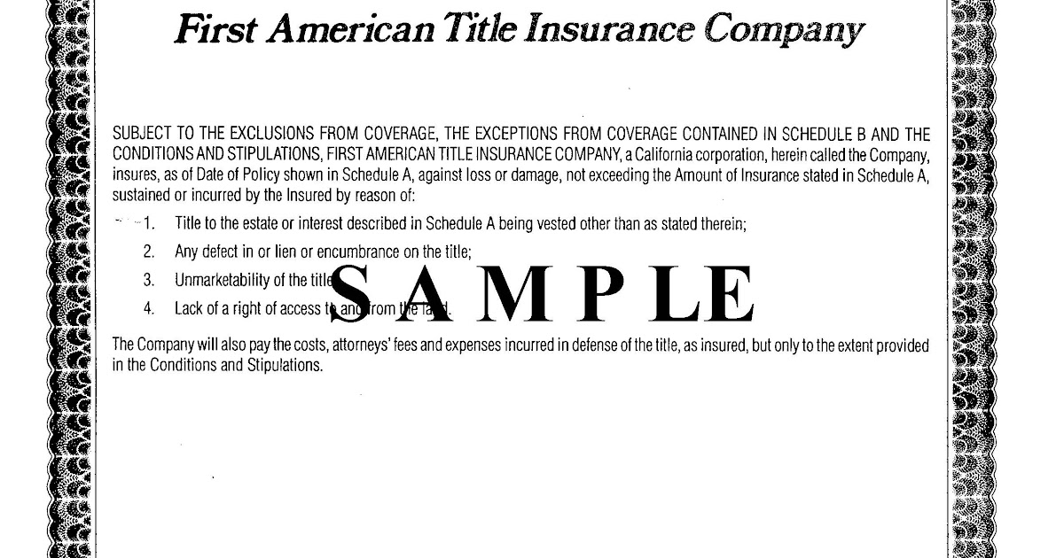 Owner's Title Insurance Policy : Speedtitle Com Your ...