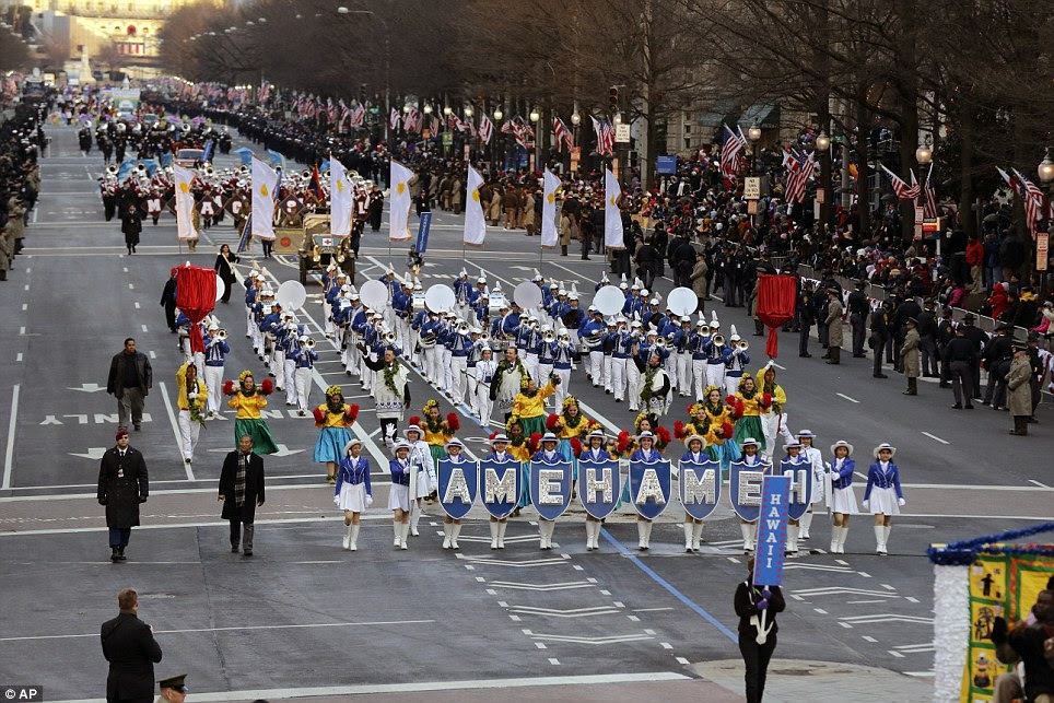 Welcoming the President: The Kamehameha Schools 'Warrior' Marching Band from Hawaii performs during the 57th Presidential Inaugural Parade on Pennsylvania Avenue in Washington