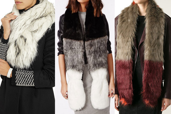 Unreal Fur Thread Through Faux Fur Scarf, $41; Missguided Wednesday Colour Block Faux Fur Scarf Black, $30; Urban Code Faux-Fur Stole, $58