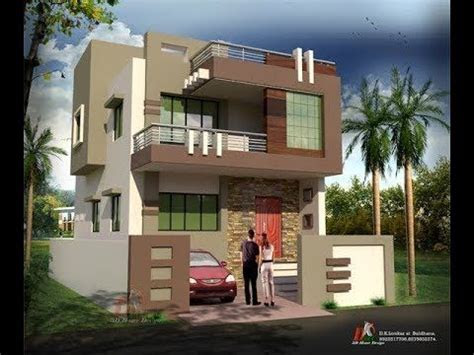 modern double floor house front elevation plans