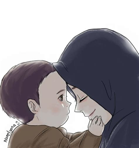 muslim mother  child drawing hijab anime pinterest