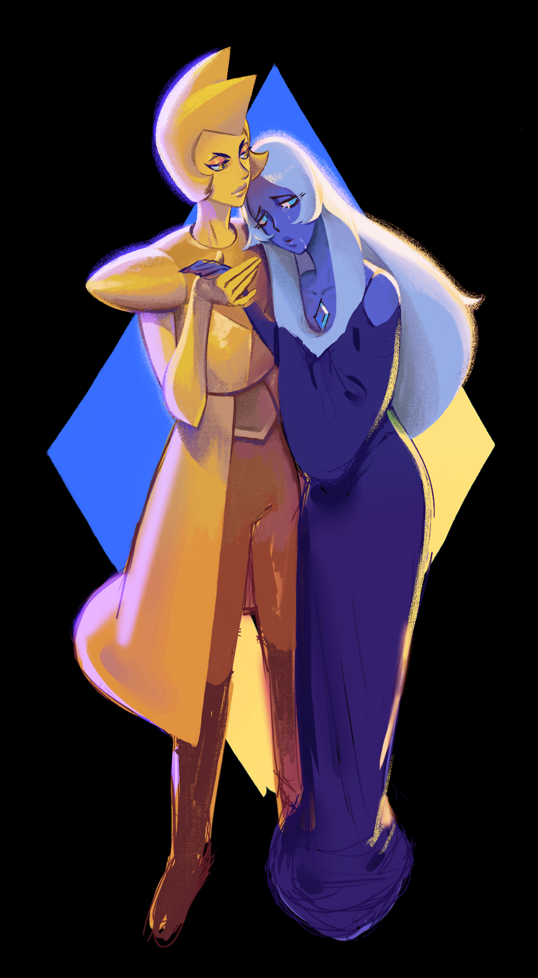 yellow and blue diamonds