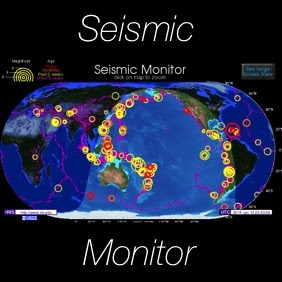 Seismic Monitor Recent Earthquakes On A World Map And Much