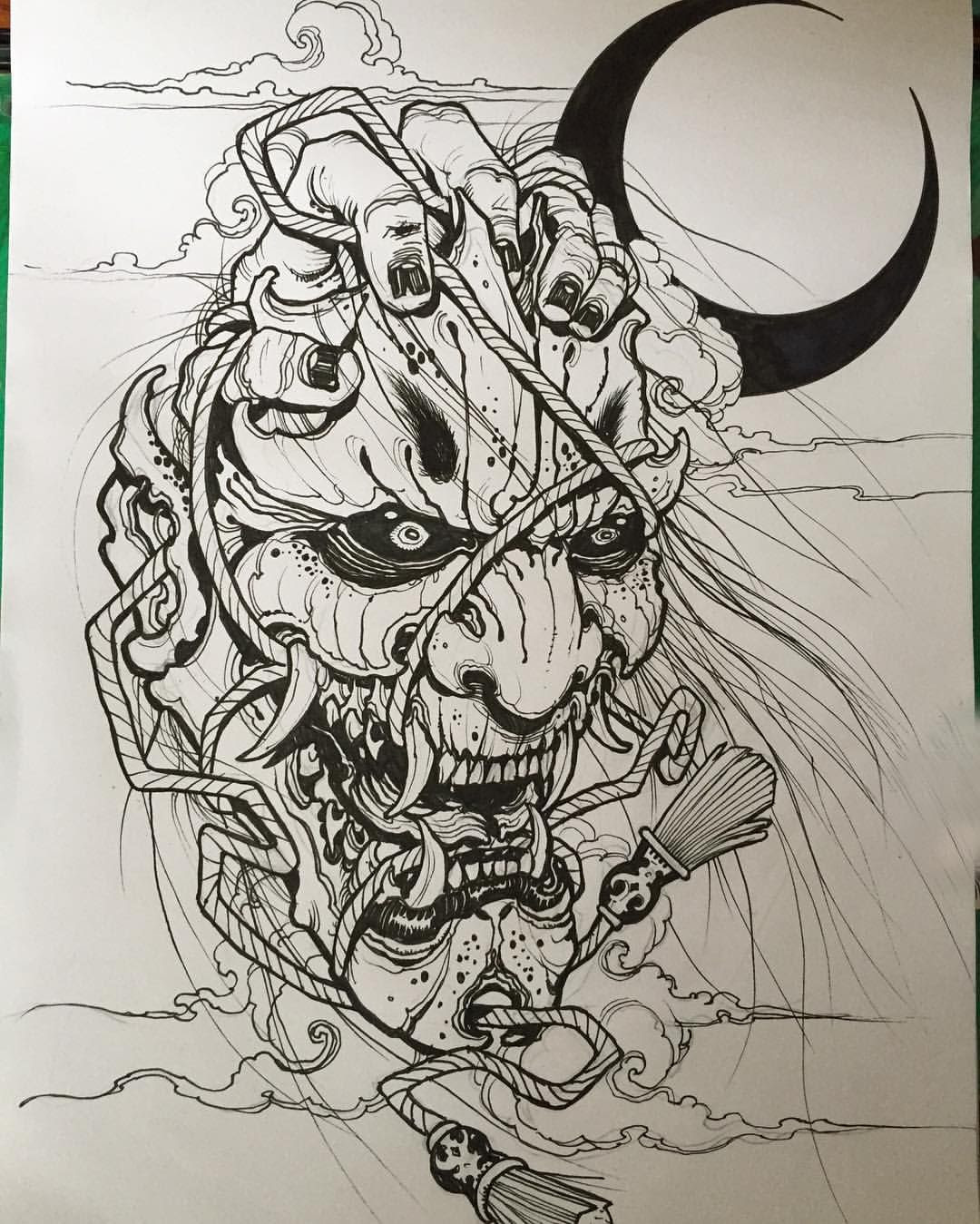 Japanese Demon Drawing At Getdrawingscom Free For Personal Use