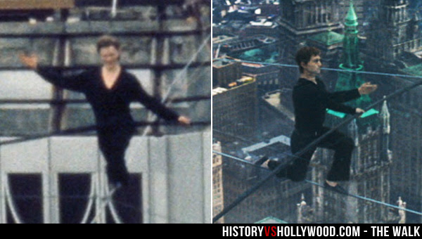 Philippe Petit kneeling on high-wire