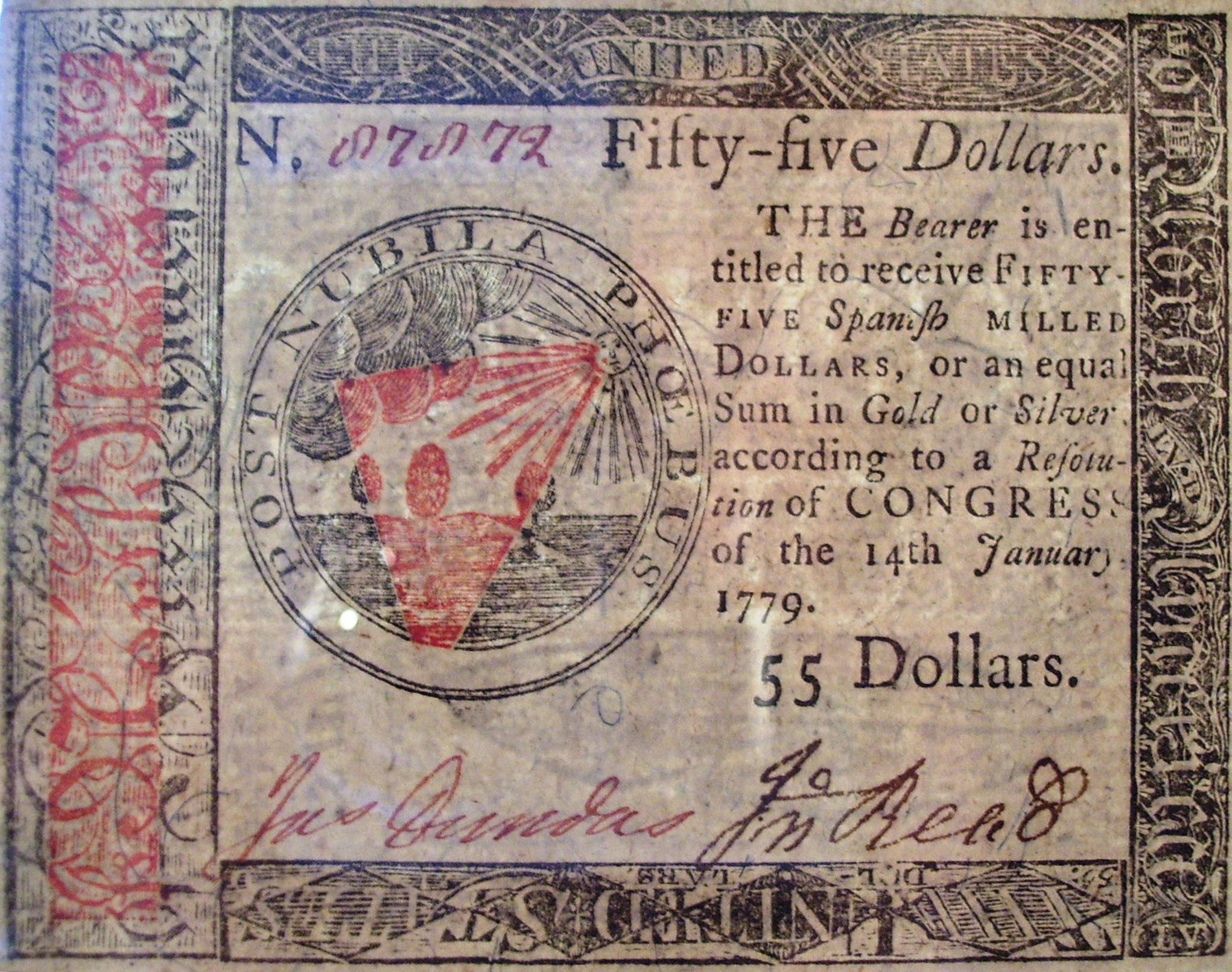 Continental 55 dollar note