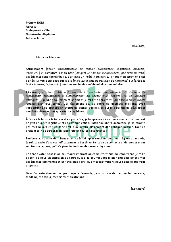 lettre de motivation humanitaire