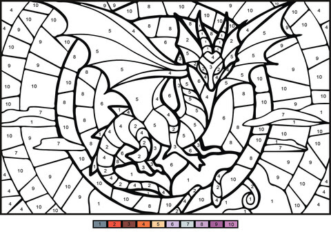 dragon colornumber  free printable coloring pages