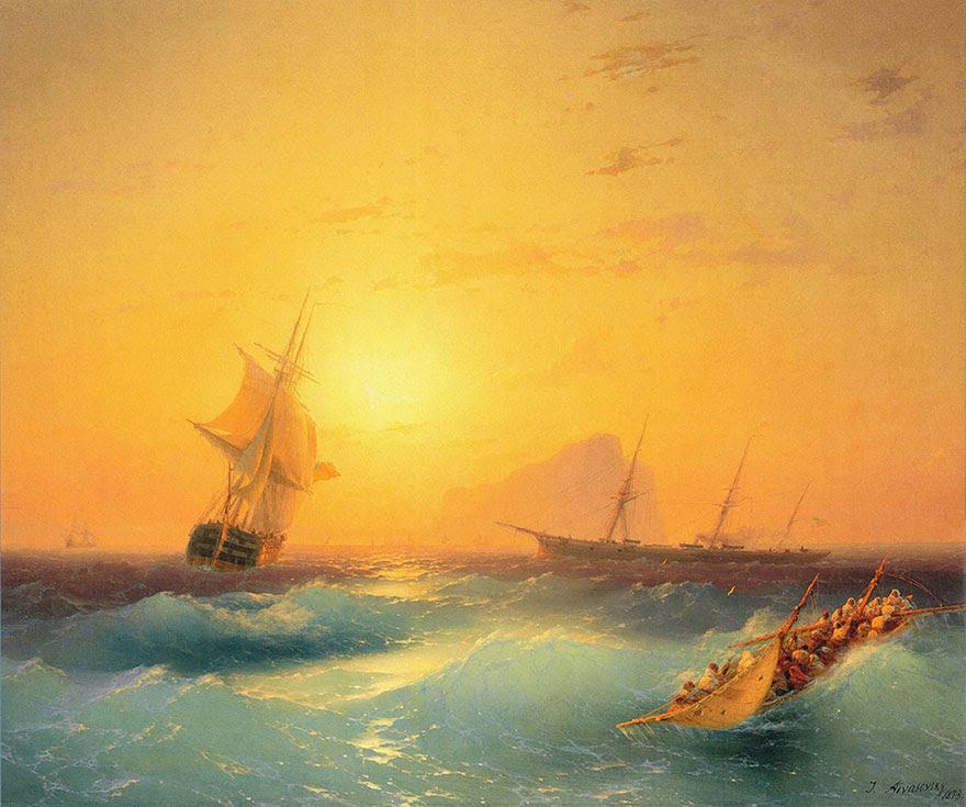 -pintura del siglo fascinantes-translúcidos ondas-19a-ivan-konstantinovich-aivazovsky-9