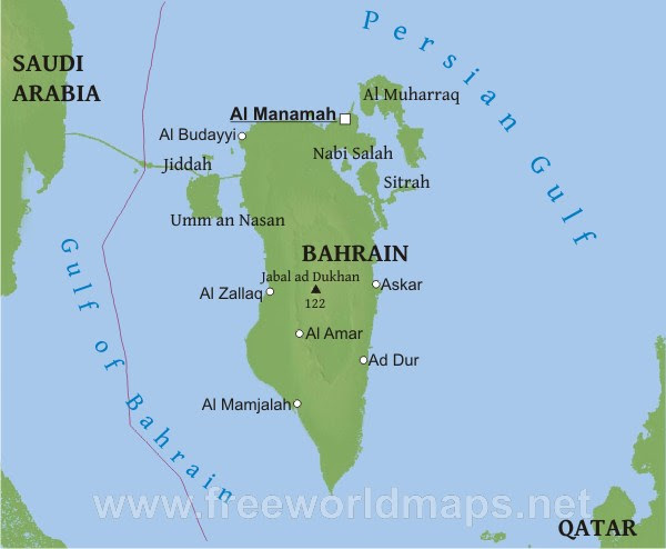 Physical map of Bahrain