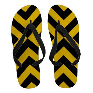 Yellow and Black Chevrons Sandals