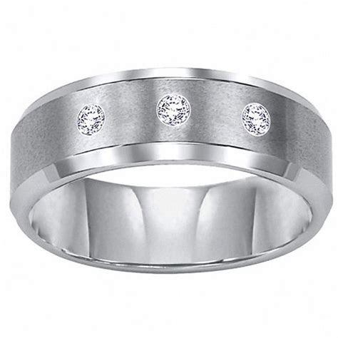 Triton Men's 8.0mm Diamond Accent Comfort Fit Tungsten