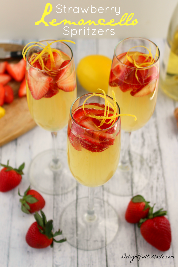 Strawberry-Lemoncello Spritzers