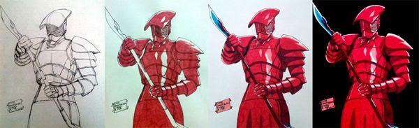 Work-in-progress photos of my Elite Praetorian Guard drawing.