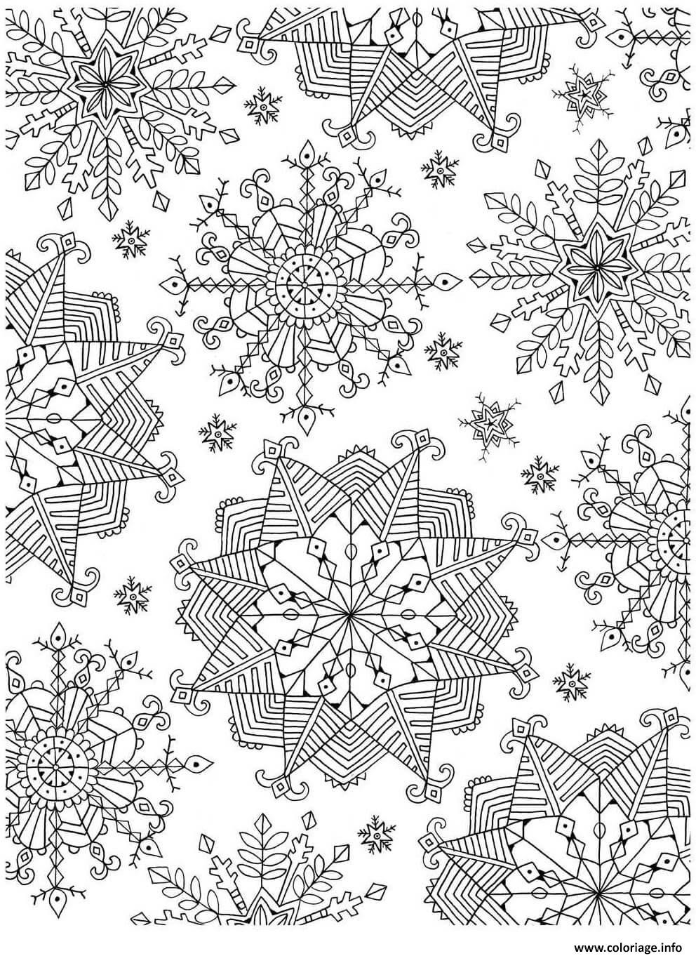 Coloriage Flocon De Neige Adulte Noel Zentangle Dessin  Imprimer