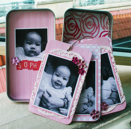 Girl tin box with mini tag album pages