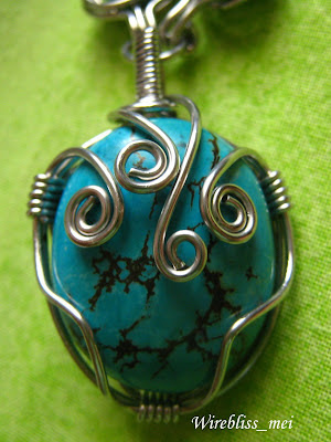 wire wrap turquoise pendant