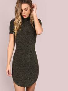 Bishop Dresses Sleeve Embroidery Hem Curved Bodycon
