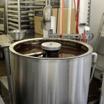 Tempering machine with chocolate inside