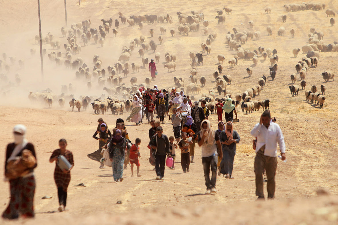 Displaced people from the minority Yazidi sect, fleeing the Islamic State in Sinjar, walk towards the Syrian border