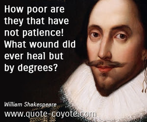 William Shakespeare How Poor Are They That Have Not Patien