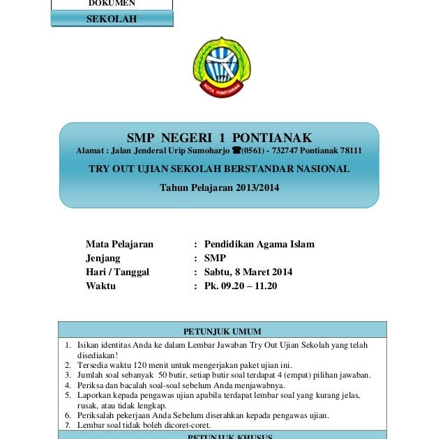 Soal Try Out Uasbn Pai Smp Paket 1 2015 Website Delapan