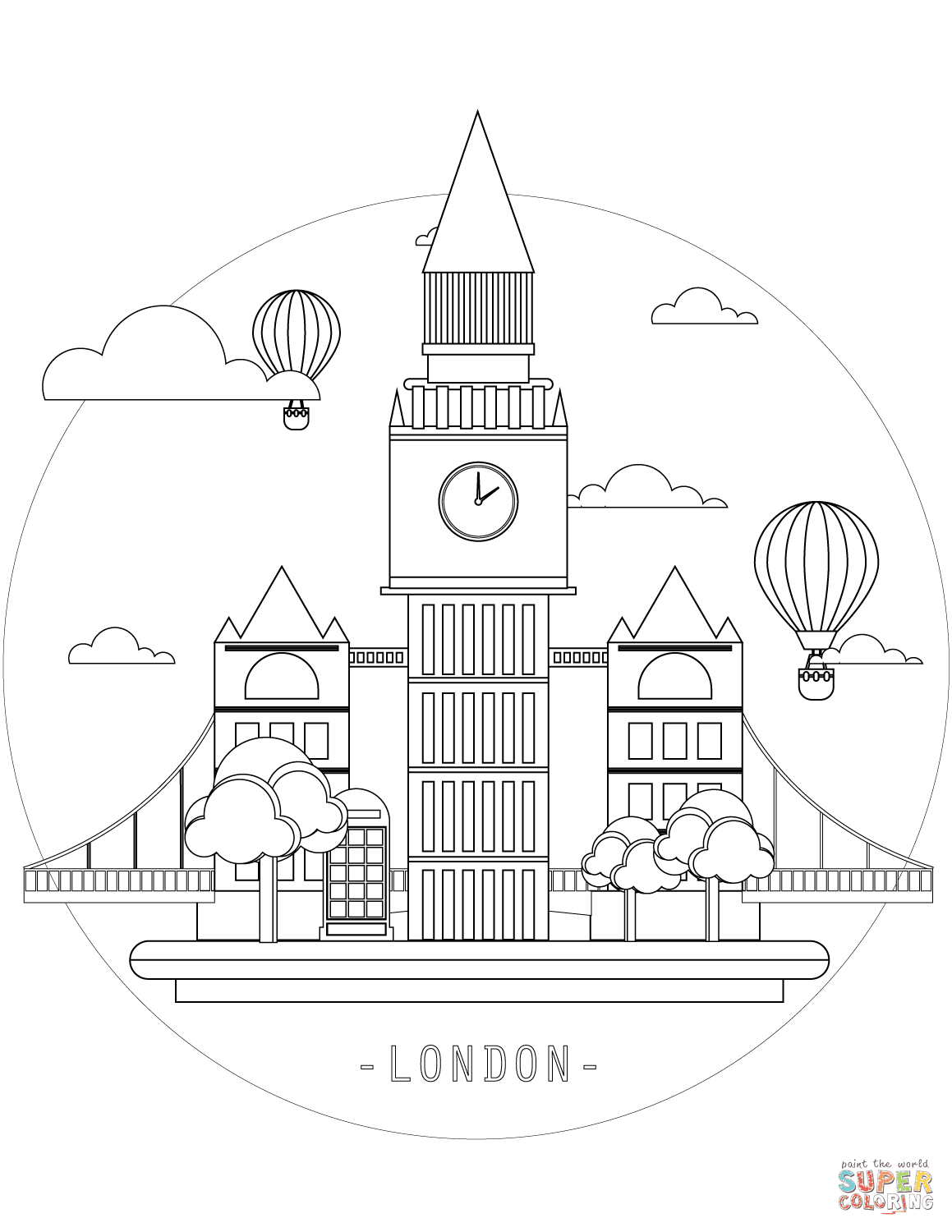 Big Ben In London Coloring Page Free Printable Coloring Pages