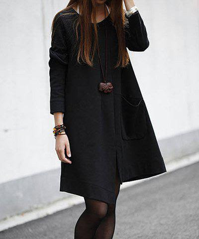 Solid Color Irregular Big Pocket Long Sleeves Casual Style Scoop Neck Cotton Women's Maternity Dress