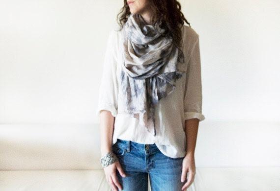 CLOUD STORM - tie dyed cotton scarf. Hand dyed. Oversized, lightweight wrap, shawl. Fashion, women accessories. Valentine's gift. - DearJuneShop