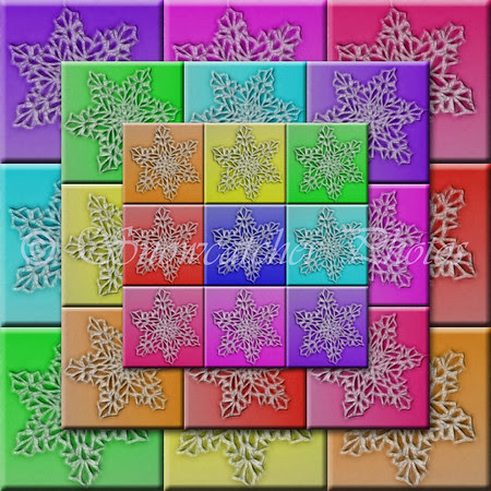 Digital Rainbow Snowflake Quilt