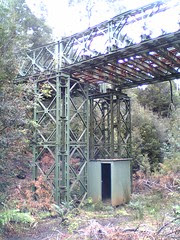 Pedestrian overpass made from bailey bridge on the ABT Railway