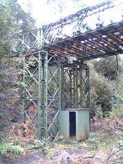 Pedestrian overpass made from bailey bridge on the ABT Railway