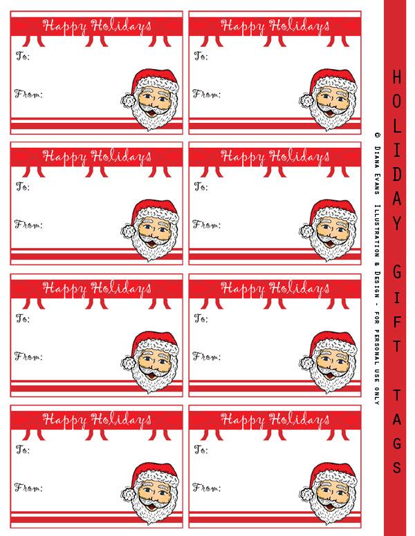 Holiday gift tags - Santa heads 600